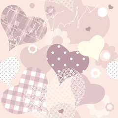 seamless background of pink hearts