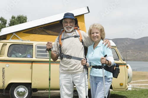 Senior couple and campervan