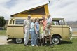 Three generational family with campervan