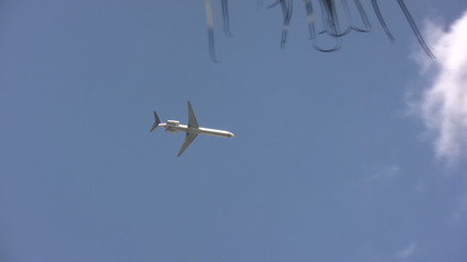 Passenger jet in flight