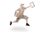 Postman on a hurry delivering package isolated on white poster