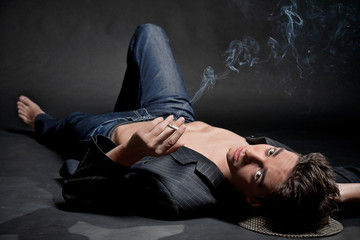 Smoking young man