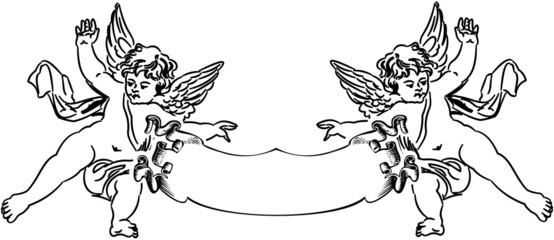 Two Baroque Cupids. One Color Vector Composition.