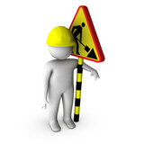 3d worker with road works sign