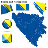 Bosnia and Herzegovina. Shape, flags and icons. poster