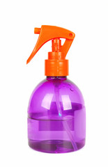 Spray bottle of hair care product.
