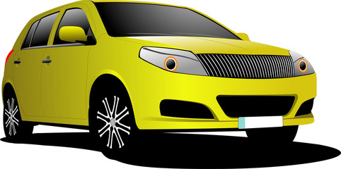 Yellow car sedan on the road. Vector illustration