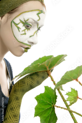 Eco-woman with green plant