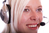 Junge blonde Frau mit Haedset 310