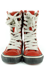 red tall sneakers shoes