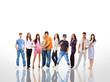 group of the young smiling students. Over white background.
