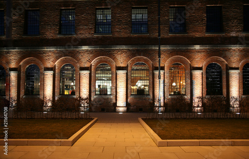 Old Converted Brick Railway Building At Night by Shelli ...  Old Converted B...