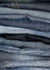 Stacked denim jeans