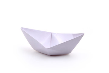 paper ships isolated on white.