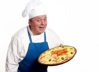 Portrait of happy attractive cook with pizza