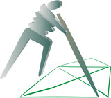 3d pictogram man drawing, on a house one move poster