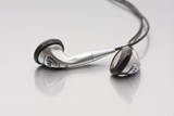 Silver earplug headphones