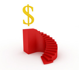 Red stairway isolated on white with dollar golden sign
