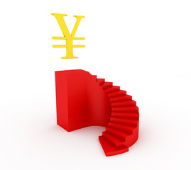 Red stairway isolated on white with yen golden sign