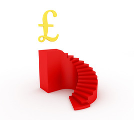 Red stairway isolated on white with pound golden sign