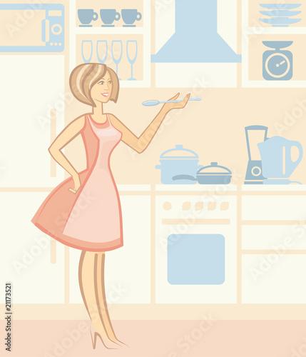 厨房复古成人房子房间插图母亲漫画烹饪生命生活方式用具绘画美景美丽