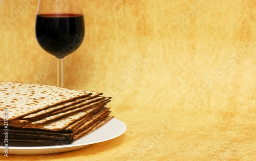 Wine and matzot - symbols of Passover