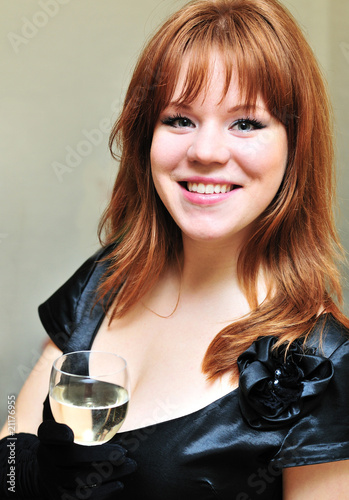 happy girl with glass of wine