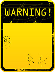 Yellow warning road sign with space for text, vector