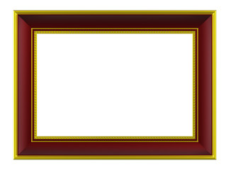Gold-brown rectangular frame isolated on white background