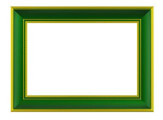 Gold-green rectangular frame isolated on white background