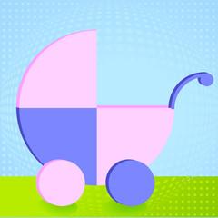 Kinderwagen auf Wiese