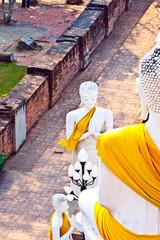 beautiful statue of Buddhas in temple Wat Yai Chai Mongkol