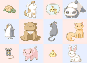 Animals kawaii set