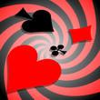 Coeur, pique, carreau, et trèfle en spirale