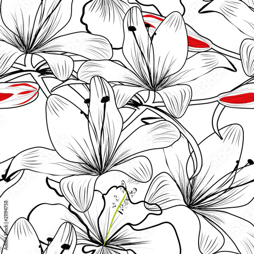 seamless pattern with white lily flowers - 21194758