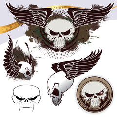 skull set with grunge background for decoration and design