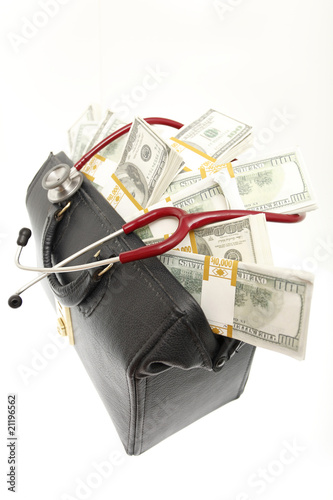 A doctor's bag filled with bundles of cash.