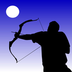 silhouette of man with bow and arrow
