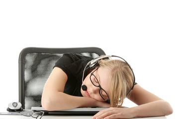 Young beautiful  girl in headset