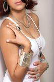 female model wearing silver jewelry earrings necklace pendant poster