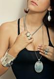girl model wearing silver jewelry earrings necklace pendant poster