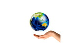 Multiracial hands around the Earth. Unity and world peace poster