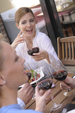 Beautiful woman drinking wine with her friends poster
