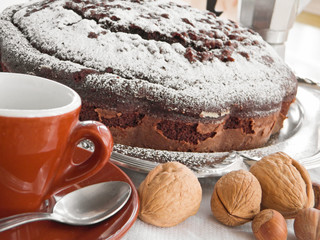 Chocolate Cake with nuts.