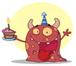Happy Red Monster Celebrates Birthday With Cake