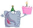 Elephant holds birthday cake