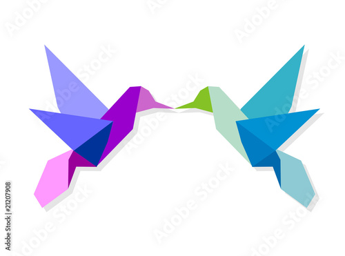 Staande foto Geometrische dieren Couple of colorful origami hummingbird