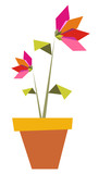 Two Origami vibrant colors flowers. poster