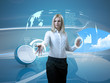 Attractive blonde with interface in futuristic interior