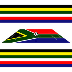 Soccer field over South Africa flag with soccer ball